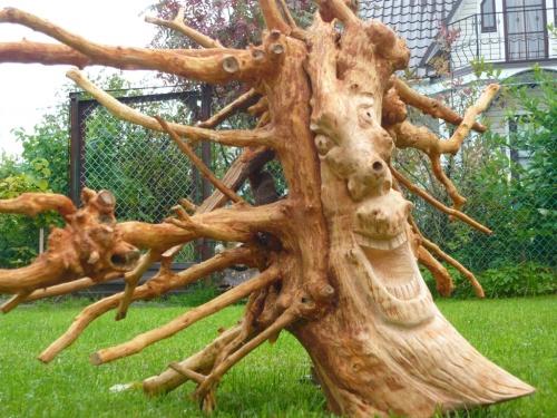 Обработка корней деревьев для поделок 9